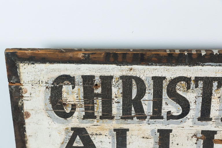 Hand-Painted Southern Missionary Church Sign circa 1930s Original Black and White Surface For Sale