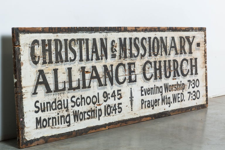 Mid-20th Century Southern Missionary Church Sign circa 1930s Original Black and White Surface For Sale