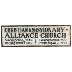 Southern Missionary Church Sign circa 1930s Original Black and White Surface