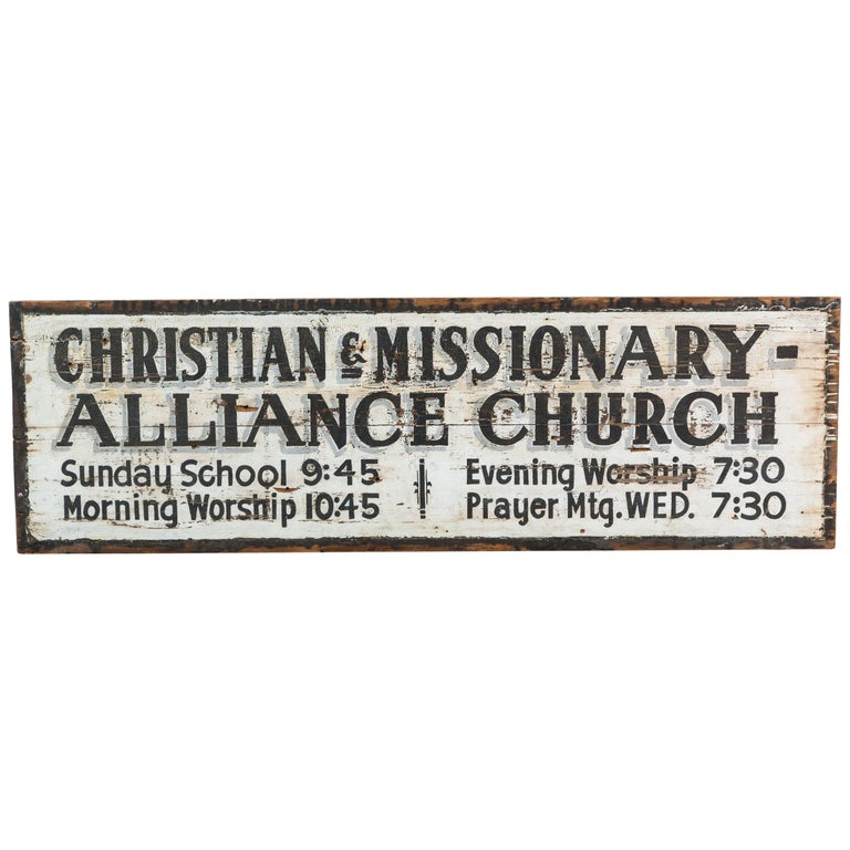 Southern Missionary Church Sign circa 1930s Original Black and White Surface For Sale