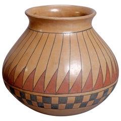 Southwest American Indian Acoma Style Feather Pottery Vase by Beto Tena
