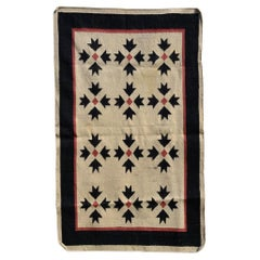 Southwest Art Vintage Wall Hanging Handwoven Tapestry in Cream Red Black, 1970s