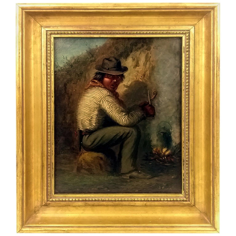 'Southwest Indian Infront of Fire' Joseph A. Harrington Oil on Canvas on Board For Sale