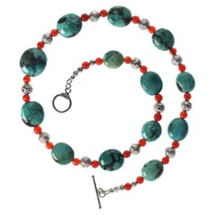 Southwest Influence Necklace of Turquoise, Carnelian, and Silver