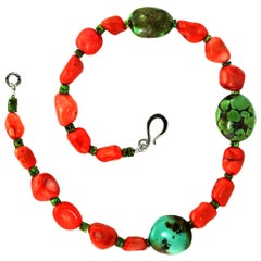Southwest Style Peach Coral and Hubei Turquoise Necklace