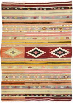 Southwestern Bohemian Vintage Turkish Kilim Rug, Flat-Weave Kilim Tribal Rug