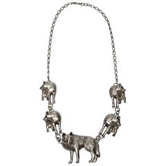 Southwestern Carol Felley 91 Sterling Silver Wolves Necklace