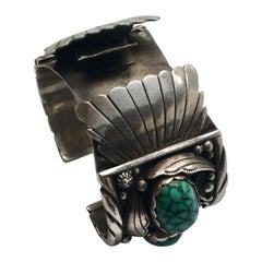 Southwestern Les Baker Shop Sterling Silver Turquoise Watch Cuff