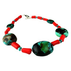 Southwestern Style Turquoise and Coral Necklace