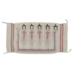 Southwestern Vintage Navajo Textile Pictorial Yei Weaving Rug