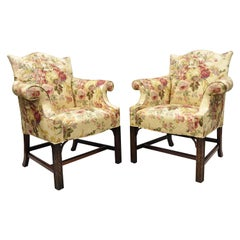Southwood Chinese Chippendale Carved Fretwork Legs Lounge Armchairs, a Pair