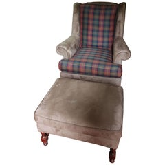 Southwood & Co. Tight Back Wing Armchair Plaid Ultra Suede Armchair and Ottoman