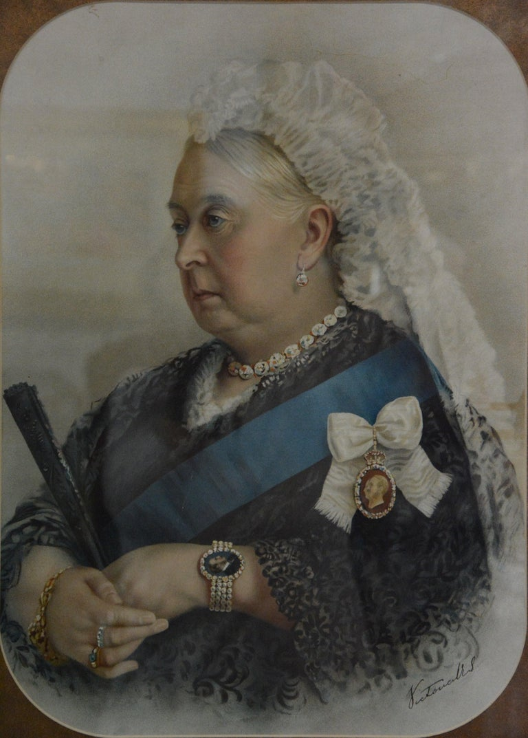 Up for your consideration is a beautiful image of Queen Victoria with a white veil, diamond necklace and pearl bracelet along with her blue sash. The lithograph is matted and framed in an ornate gilt frame. It is covered in glazed glass. The actual