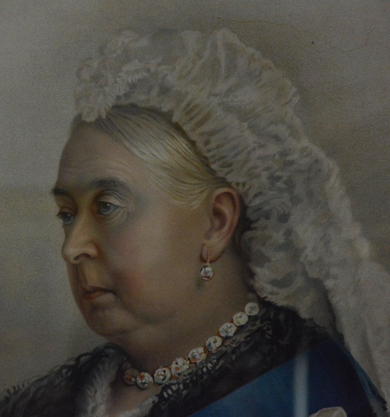 Folk Art Souvenir Portrait Lithograph of Her Most Gracious Majesty Queen Victoria Framed For Sale