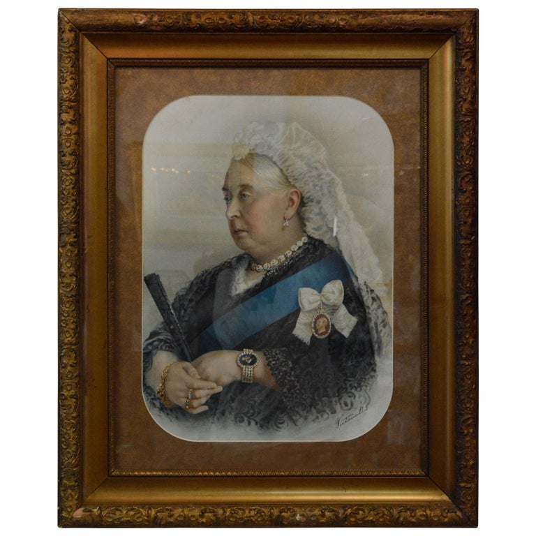 Souvenir Portrait Lithograph of Her Most Gracious Majesty Queen Victoria Framed For Sale