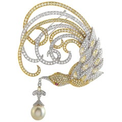 Sovel Zurich 18 Karat White Gold, 18.50 Carat Diamond and Pearl Brooch