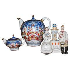 Soviet Russian Era Lomonosov Porcelain Tea Group