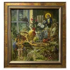 """Soviet Surrealist Evgeny Zhavoronkov """"Rooster"""", 1989"""