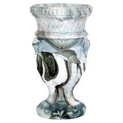 Sowerby Molded Marbled Slag Glass Gryphon Vase