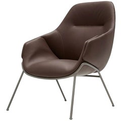 SP01 Anita Armchair High Back with Rod Base in Dark Brown Leather by Metrica