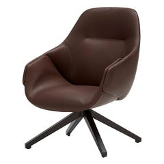 SP01 Anita Armchair High Back with Swivel Base in Dark Brown Leather by Metrica