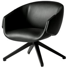 SP01 Anita Armchair with Swivel Base in Black Leather by Metrica