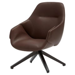 SP01 Anita High Back Swivel Armchair in Dark Brown Leather, Made in Italy