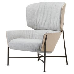 SP01 Caristo Armchair High Back in Grey-White Fabric by Tim Rundle