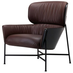 SP01 Caristo Armchair Low Back in Brown Leather by Tim Rundle