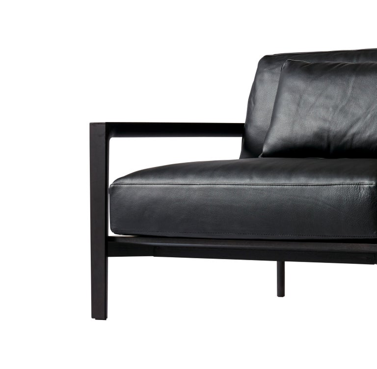 Modern SP01 Ling Sofa -Timber Frame, Upholstered Black Lisbon Leather, Made in Italy For Sale