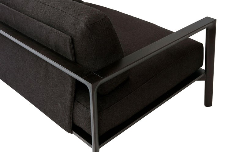 Contemporary SP01 Ling Sofa -Timber Frame, Upholstered Black Lisbon Leather, Made in Italy For Sale