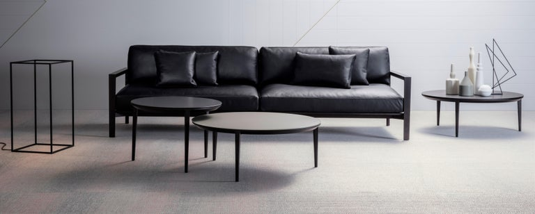 Ling is a beautifully detailed and elevated timber framed sofa with a lean architectural feel. Frame made from solid ashwood with a carbon stain, the seat and back cushions are made from multi-density polyurethane foams covered by a Dacron inner and