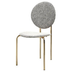 SP01 Michelle Dining Chair Upholstered in Gold Chrome, Made in Italy