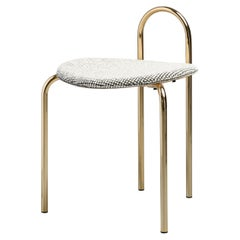 SP01 Michelle Stool Upholstered in Gold Chrome, Made in Italy
