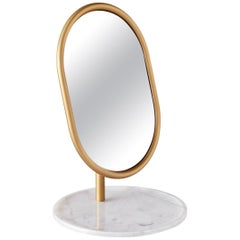SP01 Michelle Table Mirror in White Marble by Tim Rundle