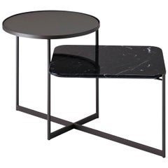 SP01 Mohana Medium Side Table in Black Marquina Marble, Made in Italy