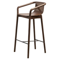 SP01 Thomas High Bar Stool in Walnut Stained Ash, Made in Italy