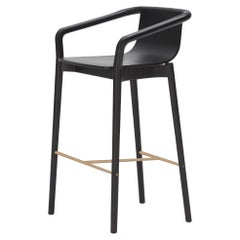 SP01 Thomas Low Bar Stool in Carbon Stained Ash, Made in Italy