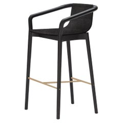 SP01 Thomas Low Bar Stool in Milan Black Fabric, Made in Italy