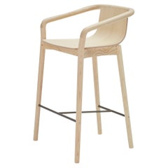 SP01 Thomas Low Bar Stool in Natural Ash, Made in Italy