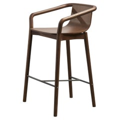 Sp01 Thomas Low Bar Stool in Walnut Stained Ash, Made in Italy