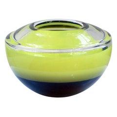 """SP9814/20 Small Yellow Bowl"" in Blown Czech Glass by Petr Zdenek"