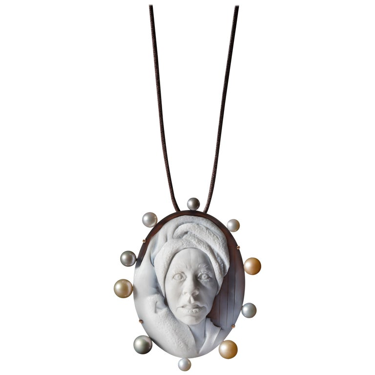 Spa Cameo in 18K Pink Gold with White, Pink and Gray Pearls by Cindy Sherman For Sale