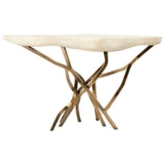 Spacacia Console Table in Cream Shagreen, Bronze-Patina Brass by R&Y Augousti