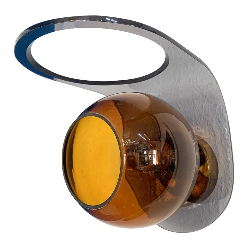 Space Age Acrylic and Amber Glass Wall Light, 1960s