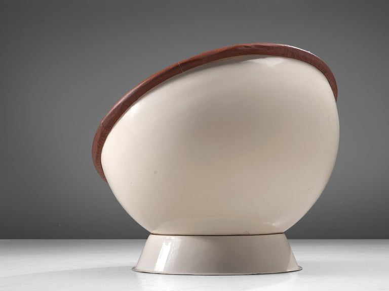 Italian Space Age Ball Chair in White Resin and Brown Leather For Sale