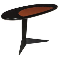 Space Age Black Brown Lacquer Steel Oval Desk Console Table, France, 1960s