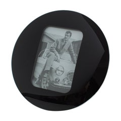 Space Age Black Glass Picture Frame