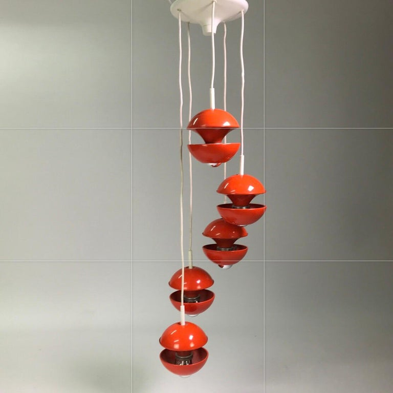 Space age chandelier by Klaus Hempel for Kaiser Leuchten, Germany 1972. For Sale 4