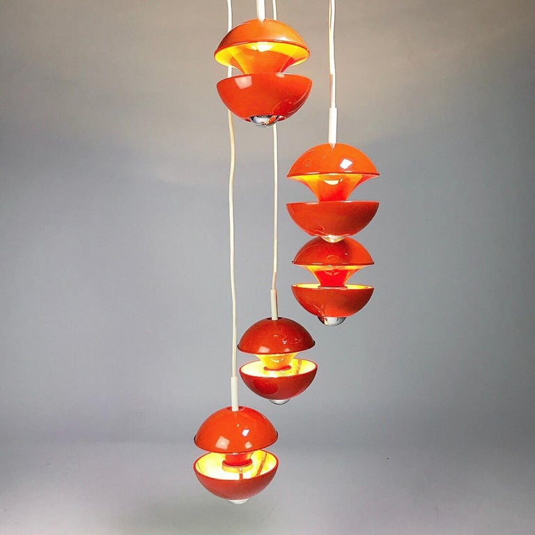 Space age chandelier by Klaus Hempel for Kaiser Leuchten, Germany 1972. For Sale 3